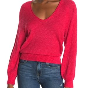 Abound Balloon Sleeve V Neck Boucle Knit Sweater